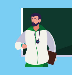 Sports teacher with chalkboard character vector
