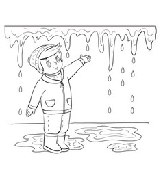 spring boy tries to reach icicle that melts in vector image