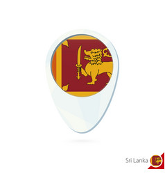 Sri lanka flag location map pin icon on white vector