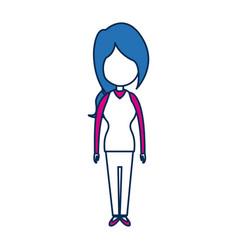 Standing woman character blue avatar vector