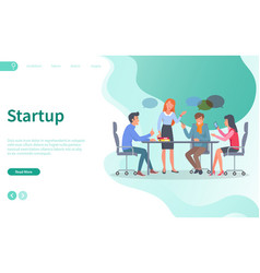 startup discussion conference with workers web vector image