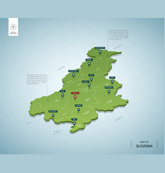 Stylized map slovenia isometric 3d green map vector