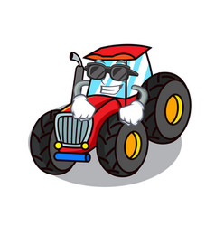 Super cool tractor character cartoon style vector