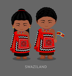 swazi people in national clothes with a flag vector image