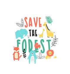 sweet animals print design with slogan vector image