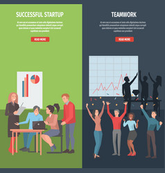 teamwork and successful startup information page vector image