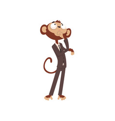 Thoughtful monkey businessman cartoon character vector