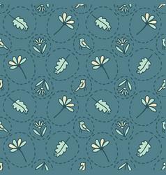 Tiny floral birds dotty seamless pattern vector