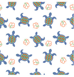 tortoise decorative seamless pattern vector image
