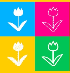 tulip sign four styles of icon on four color vector image