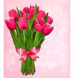 Valentines holiday background with bouquet pink vector