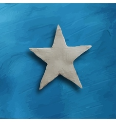White star on blue background vector image