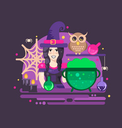 Witches cauldron halloween composition vector