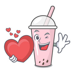 With heart raspberry bubble tea character cartoon vector