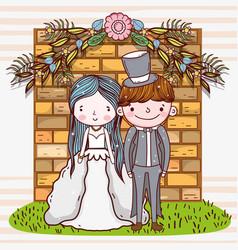 Woman and man wedding with brick wall vector