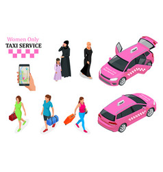 Women only taxi service concept smartphone vector