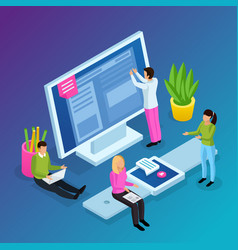 workspace interfaces isometric composition vector image