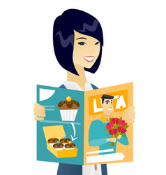 Young asian business woman reading magazine vector