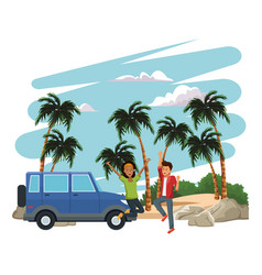 young people happy at beach vector image