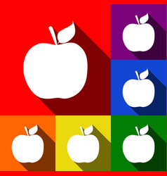 apple sign set of icons with vector image
