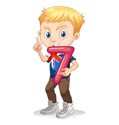 Boy holding number seven vector