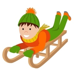 Cute child on snow sledding vector image vector image