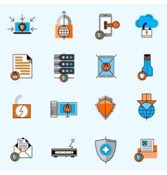 Data Protection Line Icons Set vector image vector image