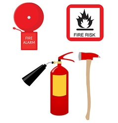 Fire extinguisher alarm bell fire risk sign and vector image vector image