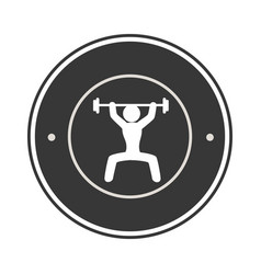 monochrome circular frame with man weightlifting vector image