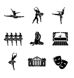 Set of Ballet monochrome icons with - ballet vector image vector image