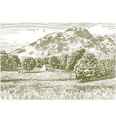 Woodcut Barn and Mountain Landscape vector image vector image
