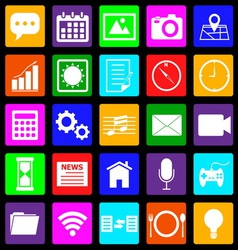 Application colorful icons on black background vector