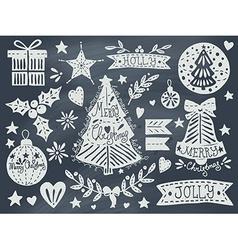 Christmas grunge set on blackboard vector image vector image