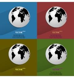 Color set World map web icon flat design vector image