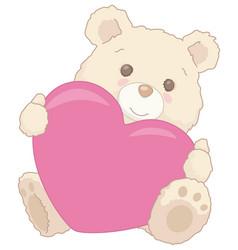 cute little teddy bear holding a heart valentine vector image