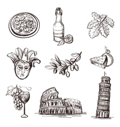 Hand drawn set of Italy vector image vector image