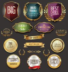 retro vintage golden labels sale collection vector image vector image