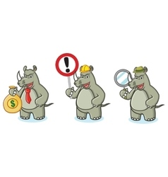 Rhino Mascot with money vector image vector image