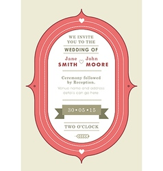 Wedding invitation red badge theme vector image vector image