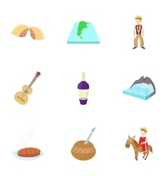 Attractions of Argentina icons set cartoon style vector image vector image