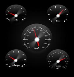 car dashboard gauge on black background speed vector image