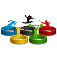 Sportive silhouettes on colorful rings vector