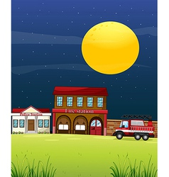 A police station beside the fire station with a vector image vector image
