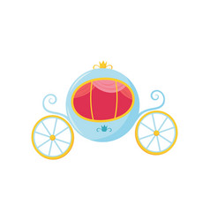 blue medieval carriage with round-shaped cab and vector image