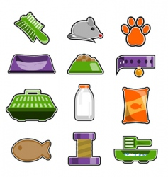 cat object icon set vector image vector image