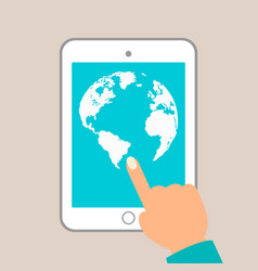 world map in dots tablet in hands vector image