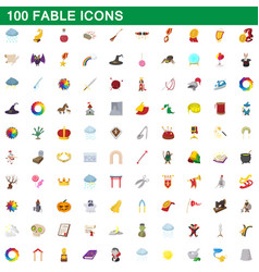 100 fable icons set cartoon style vector