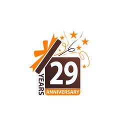 29 years gift box ribbon anniversary vector