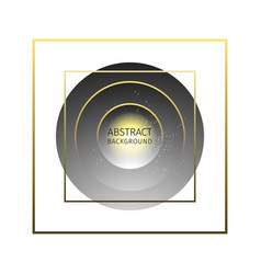 Abstract background of gray circles and gold frame vector