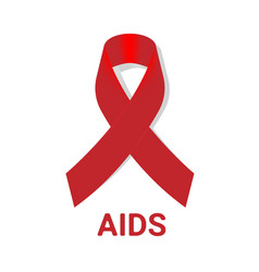 aid icon with red awareness ribbon on white vector image